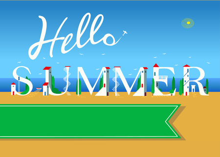 Hello summer. Travel card. White buildings on the summer beach. Green banner for custom text. Plane in the sky. Stock Photo