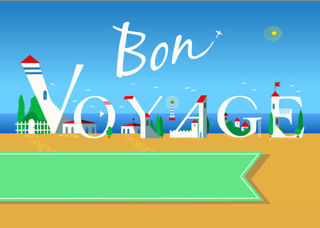Bon voyage. Travel card. White buildings on the summer beach. Green banner for custom text. Plane in the sky.
