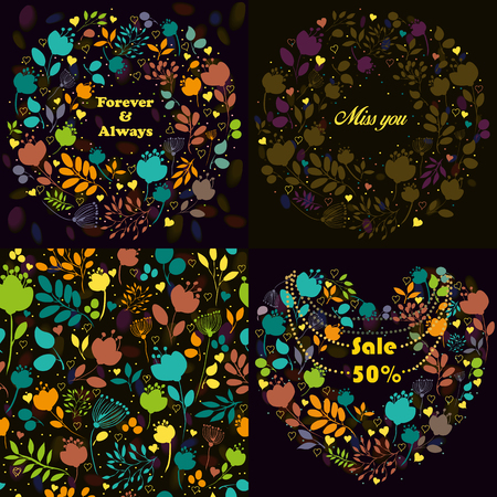silhouttes: Bright floral patterns set. Delicate silhouettes of flowers and plants. Seamless pattern.