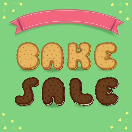 bake sale sign: Bake sale. Inscription by cookies font. Yellow and chocolate biscuits. Green background with yellow stars. Red banner for custom text. illustration