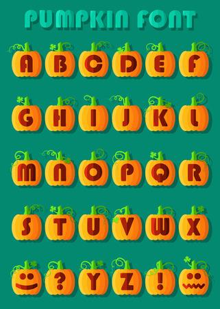 Pumpkin font. Artistic alphabet. Orange geometric pumpkins with red signs and symbols. Jack of the Lantern. illustration
