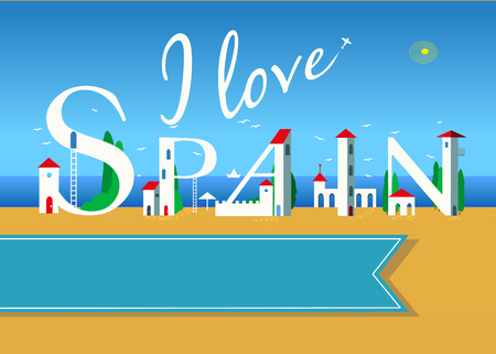 I love Spain. Travel card. White buildings on the summer beach. Blue banner for custom text. Plane in the sky. Stock Photo