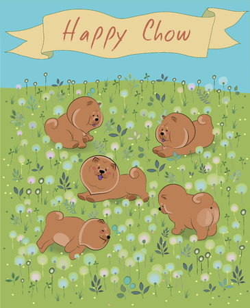 prairie dog: Happy Chow-chow on the blossoming field. Brown puppies. Watercolor flowers and plants. Yellow banner in the sky. Illustration.