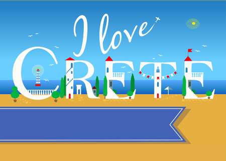 I love Crete. Travel card. White buildings on the summer beach. Blue banner for custom text. Plane in the sky.