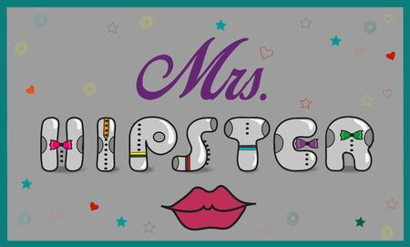 word of mouth: Inscription Mrs. Hipster. Vintage artistic font. Gray letters with colorful ties. Red lips. Illustration. Stock Photo