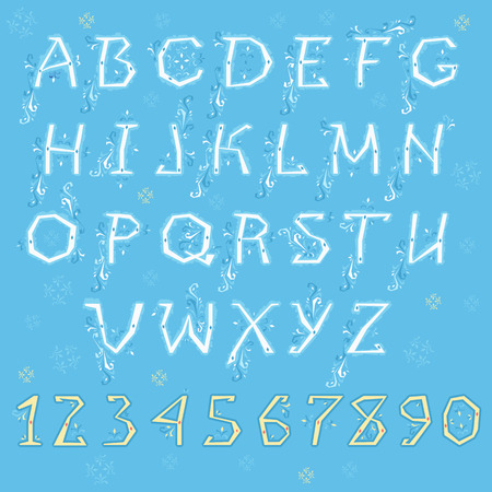 Winter Alphabet. White letters and yellow numbers with blue floral geometric decor. Vector Illustration