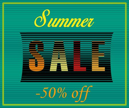 Summer Sale Inscription. Fifty percents off. Striped Colorful Letters. Illustration.