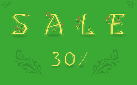 Inscription Sale. Thirty percents. Delicate letters with floral pattern. Floral decor. Green background. Artistic font. Illustration.