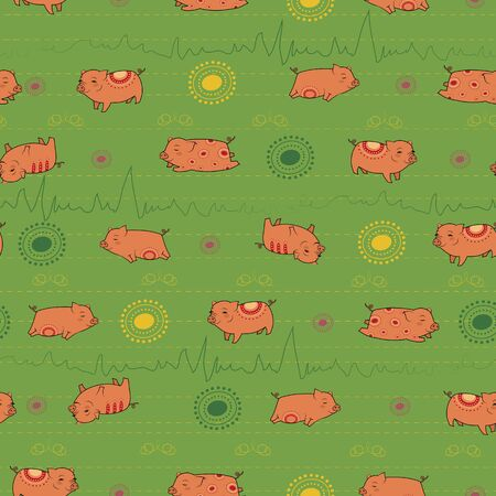 Happy pink piggies with red indian decor. Green background wirh yellow and green decor. Seamless Pattern