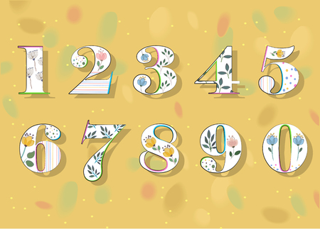 5.0: Floral Numerals. White Symbols with colorful decor and Watercolor Flowers. Vector Illustration