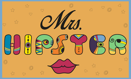 Inscription Mrs. Hipster. Funny letters. Red lips. Unusual artistic font. Illustration. Stock Photo