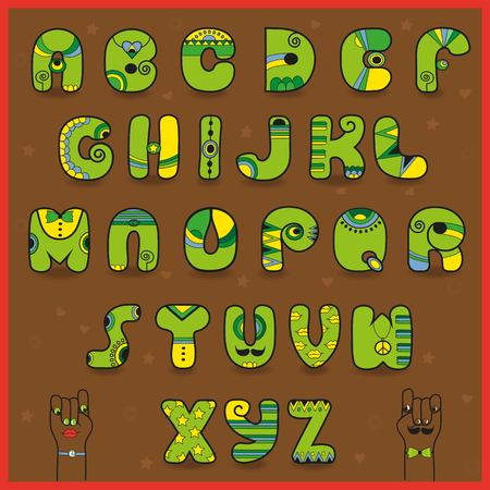 Smaragdine Alphabet. Funny green yellow letters. African Ethnic style. Cartoon hands looking at each other. Illustration.