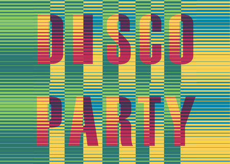 Disco Party Inscription. Vintage invitation. Striped colorful Letters. Illustration