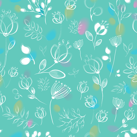 drow: Floral seamless pattern. White floral with green background. Drow effect. Watercolor blurs. illustration