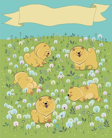 prairie dog: Yellow puppies on the blossoming field. Chow-chow. Watercolor flowers and plants. Yellow banner in the sky for custom text. Illustration Stock Photo