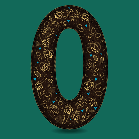 Number Zero with Golden Floral Decor. Dark brown numeral. Yellow flowers and plants with drown effect. Blue small hearts. Vector Illustration