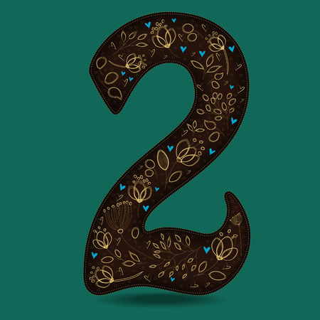 Number Two with Royal Golden Floral Decor. Dark brown numeral. Yellow flowers and plants with drown effect. Blue small hearts. Vector Illustration