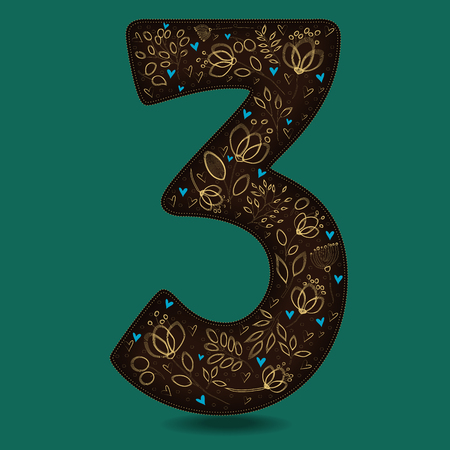 Number Three with Vintage Yellow Floral Decor. Dark brown numeral. Golden flowers and plants with drown effect. Blue small hearts. Vector Illustration