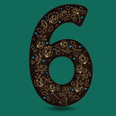 Number Six with Yellow Floral Decor. Dark brown numeral. Golden flowers and plants with drown effect. Blue small hearts. Vector Illustration