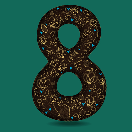 Number Eight with Retro Golden Floral Decor. Dark brown numeral. Yellow flowers and plants with drown effect. Blue small hearts. Vector Illustration Illustration