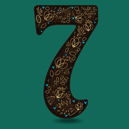 Number Seven with Vintage Golden Floral Decor. Dark brown numeral. Yellow flowers and plants with drown effect. Blue small hearts. Vector Illustration Illustration