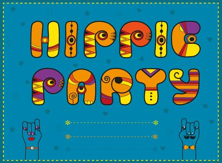 Inscription Hippie Party. Funny orange Letters with bright parts. Cartoon hands looking at each other. Illustration.