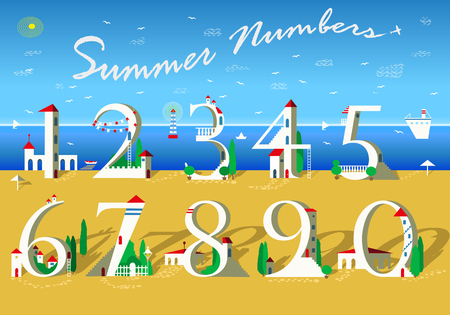Summer Numbers. Signs are as white houses with red roofs, doors, windows and stairs. Yellow and blue background is as sea and beach. Text with plane in the sky. Vector Illustration