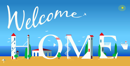 Inscription Welcome home. Cute white houses on the coast. Plane in the sky. Summer beach. Illustration. Stock Photo