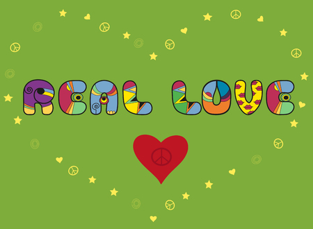 Inscription Real love. Colorful artistic font. Colored Letters. Red Heart with symbol of pacific. yellow heart by symbols of pacifics, stars and hearts. Illustration.