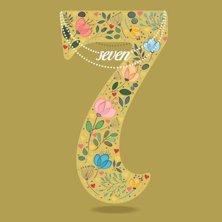 Yellow Number Seven with Folk Floral Decor. Colorful watercolor flowers and plants. Small hearts. Graceful pearl necklace with text. Vector Illustration
