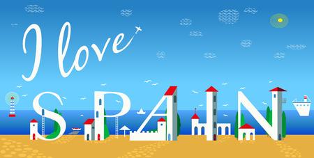 Inscription I love Spain. Cute white houses on the coast. Plane in the sky. Summer beach. Travel card. Illustration.
