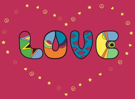Inscription Love. Colorful artistic font. Romantic card. Big heart by yellow symbols of stars, hearts. Illustration. Stock Photo