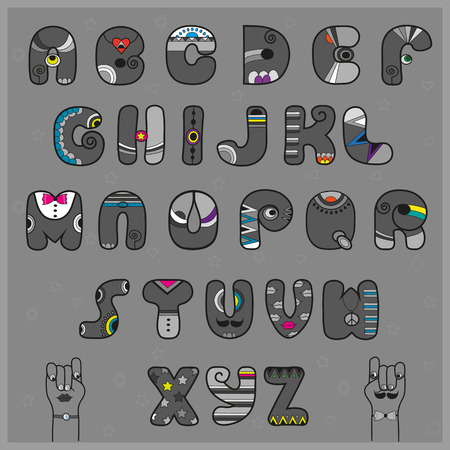 Hipster Alphabet. Funny artistic font. Gray letters with bright parts. Vintage fashion. Cartoon hands looking at each other. Illustration Stock Photo