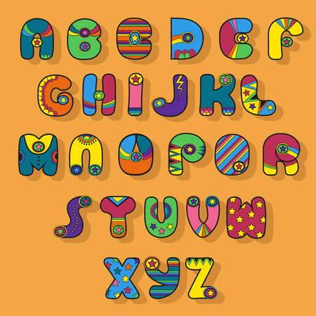 Colorful Alphabet. Superhero style. Cartoon letters with bright decor elements. illustration