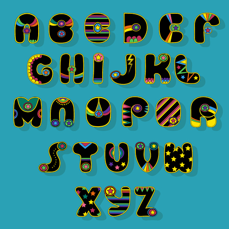 Black Alphabet. Superhero style. Cartoon letters with bright colorful decor elements. illustration