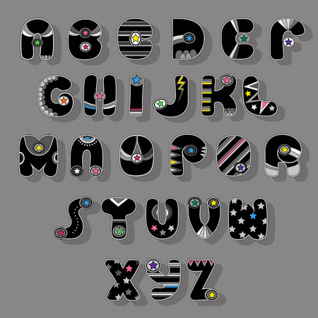 Colorful Alphabet. Superhero style. Cartoon letters with gray decor elements and colorful stars. illustration Stock Photo