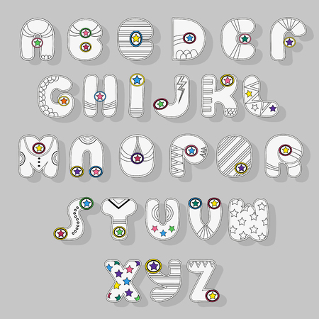 White Alphabet. Superhero style. Cartoon letters with black decor elements and colorful stars. illustration