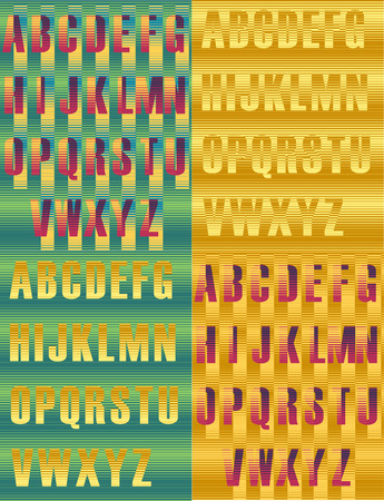 Striped artistic alphabets. Unusual fonts. Striped background. illustration Stock Photo