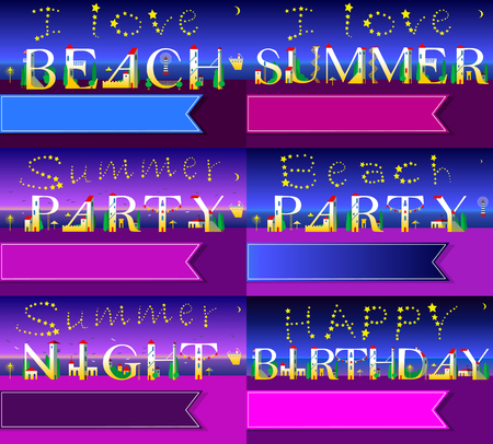 Invitation cards to parties. White houses font. Summer beach. Summer party texts. Happy birthday. Banners for custom texts. Stars in the sky. Illustration Stock Illustration - 77197422