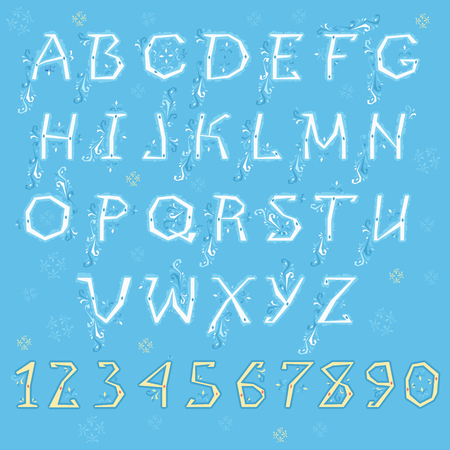 Winter Alphabet. White letters and yellow numbers with blue floral geometric decor. Illustration