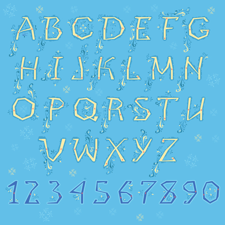 Spring Alphabet. Yellow letters and blue numbers with floral geometric decor. Illustration
