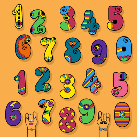 Numbers Set. Hippie, Disco and Superhero Style. Colorful Numerals with vintage decor. Cartoon Hands. Illustration