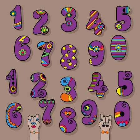Set of Vintage Numerals. Purple signs with bright colorful decor. Superhero and Disco Style. Cartoon Hands. Illustration