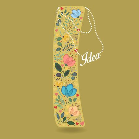Yellow Letter I with Folk Floral Decor. Colorful watercolor flowers and plants. Small hearts. Graceful pearl necklace with text Idea. Vector Illustration