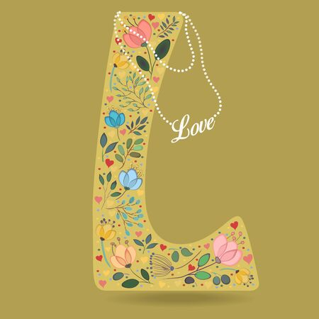 Yellow Letter L with Folk Floral Decor. Colorful watercolor flowers and plants. Small hearts. Graceful pearl necklace with text Love. Vector Illustration Illustration