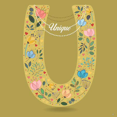 Yellow Letter U with Folk Floral Decor. Colorful watercolor flowers and plants. Illustration