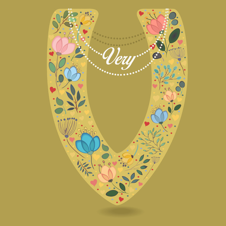 Yellow Letter V with Folk Floral Decor. Colorful watercolor flowers and plants. Small hearts. Graceful pearl necklace with text Very. Vector Illustration Illustration