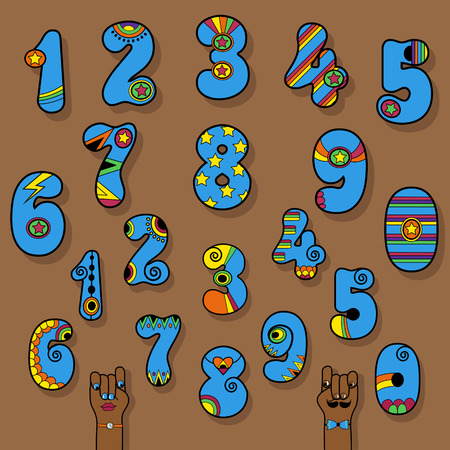 Set of Vintage Numerals. Blue signs with bright yellow and orange decor. Superhero and Disco Style. Cartoon Hands. Illustration
