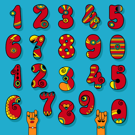 Set of Vintage Numerals. Red signs with bright colorful decor. Superhero and Disco Style. Cartoon Hands. Illustration