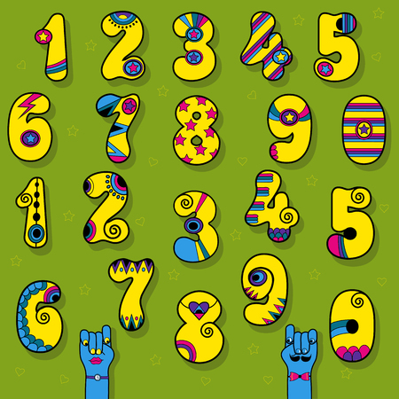 Set of Vintage Numerals. Yellow signs with bright blue and pink decor. Superhero and Disco Style. Cartoon Hands. Illustration Stock Photo